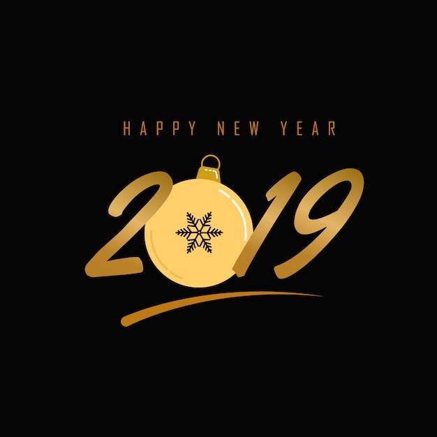 Grußhintergrund des neuen jahres 2019 mit weihnachtskugel Premium Vektoren