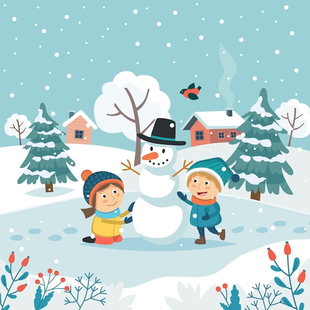 Grußkarte der frohen weihnachten mit den kindern, die schneemann machen. Premium Vektoren