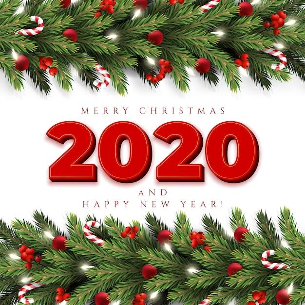 Grußkarte der frohen weihnachten mit einer realistischen girlande von kieferniederlassungen Premium Vektoren