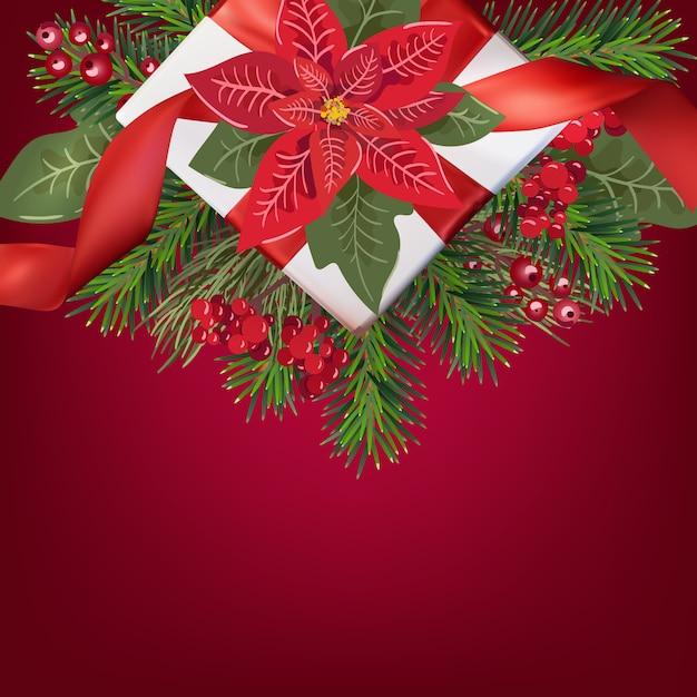 Grußkarte der frohen weihnachten mit geschenkbox und weihnachtsbaum auf roter steigung, poinsetia Premium Vektoren