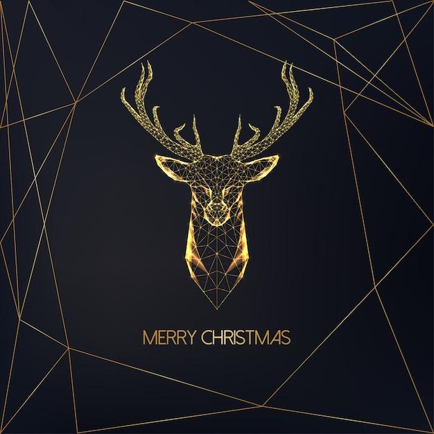 Grußkarte der frohen weihnachten mit goldenem niedrigem polygonalem rotwildkopf mit den geweihen und text auf schwarzem. Premium Vektoren