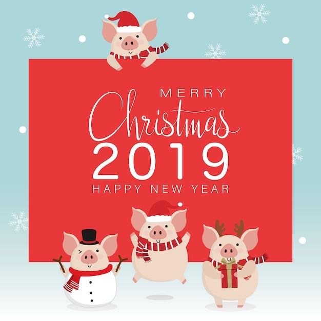 Grußkarte der frohen weihnachten mit nettem schwein Premium Vektoren