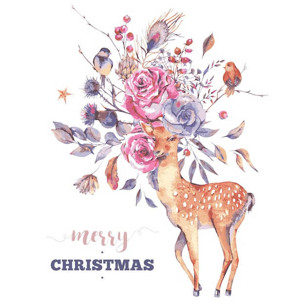 Grußkarte der frohen weihnachten mit niedlichen rotwild und blumen Premium Vektoren