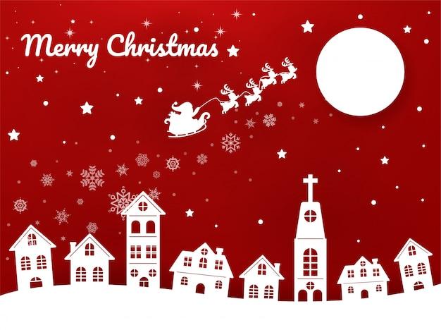 Grußkarte der frohen weihnachten, sankt reitet eine rikscha im stadthimmel, um den kindern weihnachtsgeschenke zu geben. Premium Vektoren