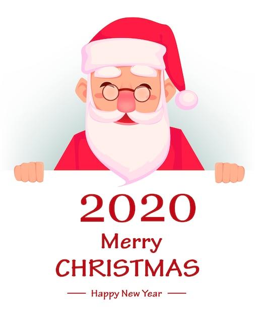 Grußkarte der frohen weihnachten und des guten rutsch ins neue jahr 2020 Premium Vektoren