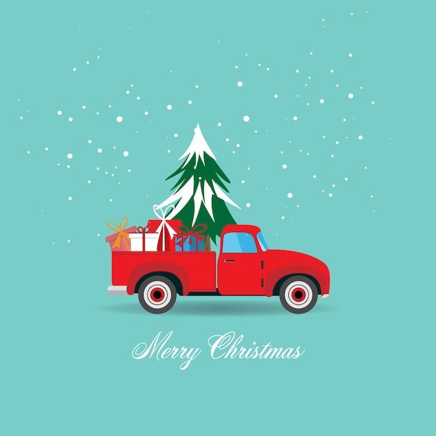 Grußkarte der frohen weihnachten und des guten rutsch ins neue jahr mit kleintransporter mit weihnachtsbaum- und geschenkboxillustration. Premium Vektoren
