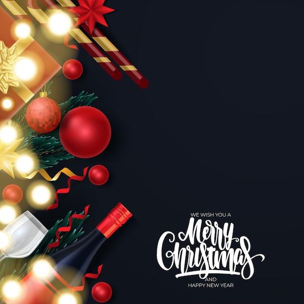Grußkarte der frohen weihnachten und des guten rutsch ins neue jahr Premium Vektoren