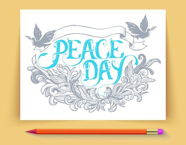 Grußkarte für den feiertag friedenstag. kalligraphie mit abstrakter dekorverzierung. Premium Vektoren