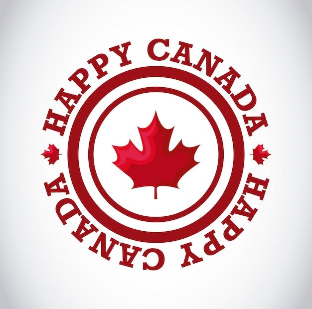 Grußkarte glücklichen kanada-tages mit ahornblatt im rahmenrundschreiben Premium Vektoren