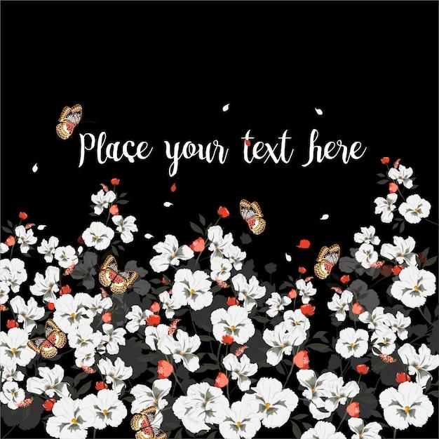 Grußkarte mit blühenden blumen mit schmetterling. wildblumen, vektor-illustration Premium Vektoren