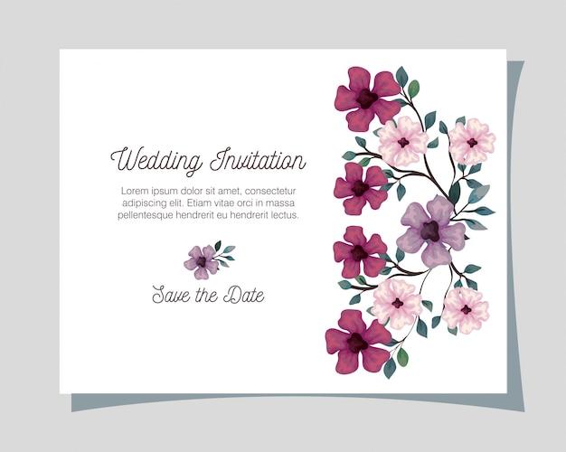 Grußkarte mit blumen lila, rosa und lila farbe, hochzeitseinladung mit blumen mit zweigen und blätter dekoration illustration design Premium Vektoren