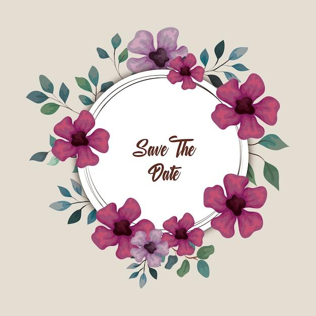 Grußkarte mit blumen lila und lila farbe, hochzeitseinladung mit blumen mit zweigen und blätter dekoration illustration design Premium Vektoren