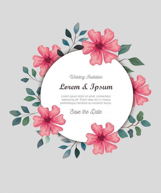 Grußkarte mit blumen rosa farbe, hochzeitseinladung mit blumen rosa farbe mit zweigen und blättern dekoration Premium Vektoren
