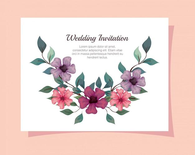 Grußkarte mit blumen rosa, lila und lila farbe, hochzeitseinladung mit blumen mit zweigen und blätter dekoration illustration design Premium Vektoren