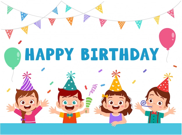 Grußkarte mit den netten glücklichen kindern, die geburtstag feiern Premium Vektoren