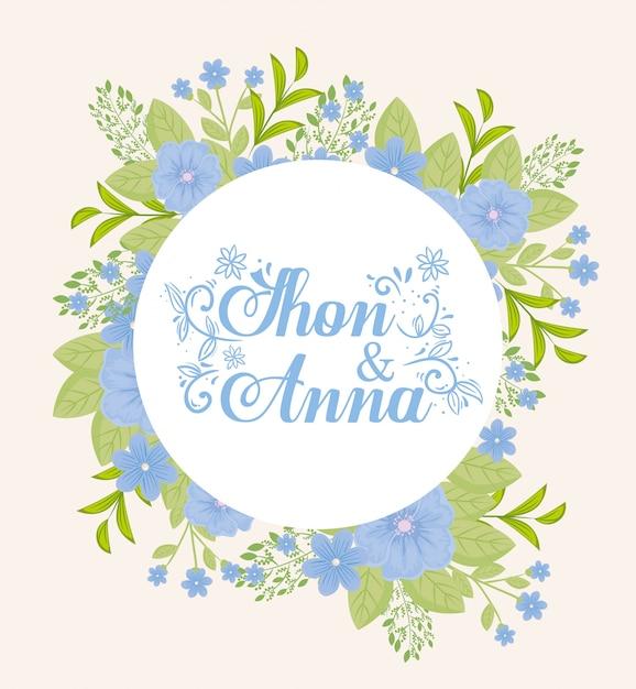 Grußkarte mit rahmen kreisförmig von blumen blaue farbe, hochzeitseinladung mit blumen rosa Premium Vektoren
