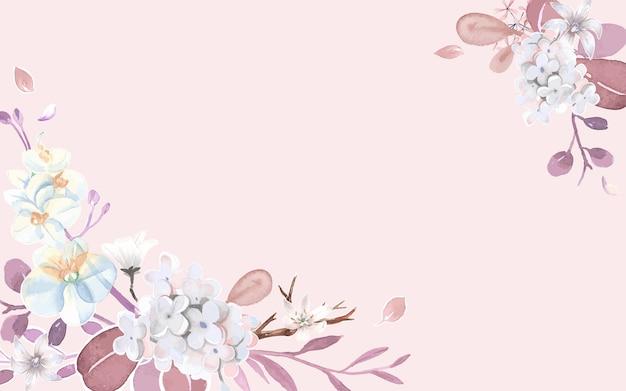 Grußkarte mit rosa und blumenthema Kostenlosen Vektoren
