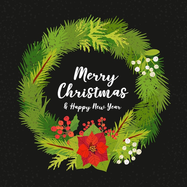Grußkarte mit weihnachtskranz. Premium Vektoren