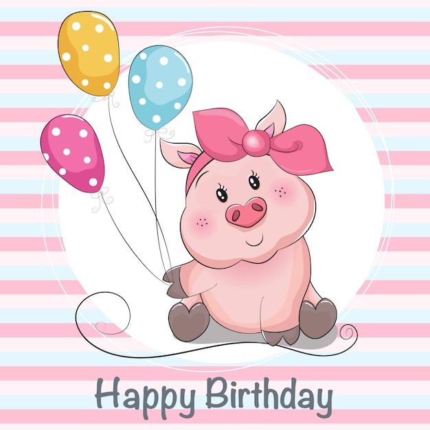 Grußkarte niedlichen cartoon piggy mädchen mit ballons Premium Vektoren