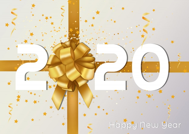 Grußkarte und plakat der frohen weihnachten und des guten rutsch ins neue jahr 2020 mit goldenem band und geschenk. Premium Vektoren