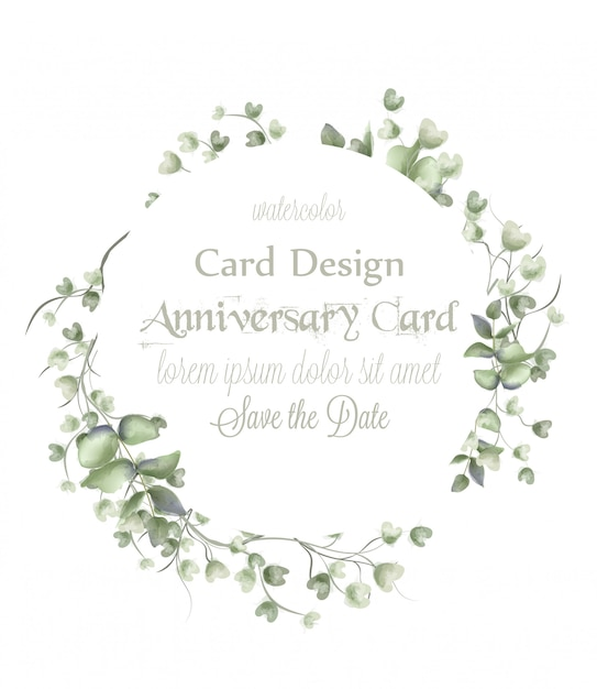 Grußkarten-kranzrahmen mit aquarellblättern Premium Vektoren