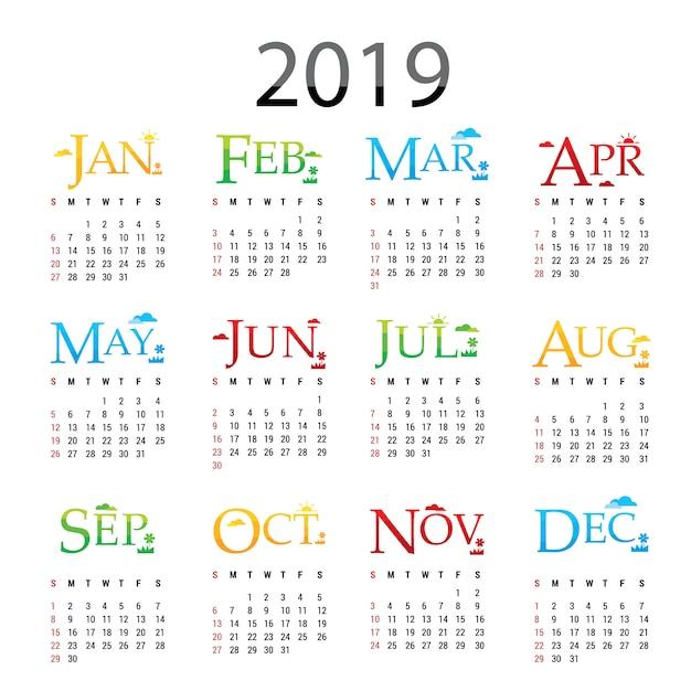 Grußkarten-vektor des kalender-planer-guten rutsch ins neue jahr-2019 Premium Vektoren
