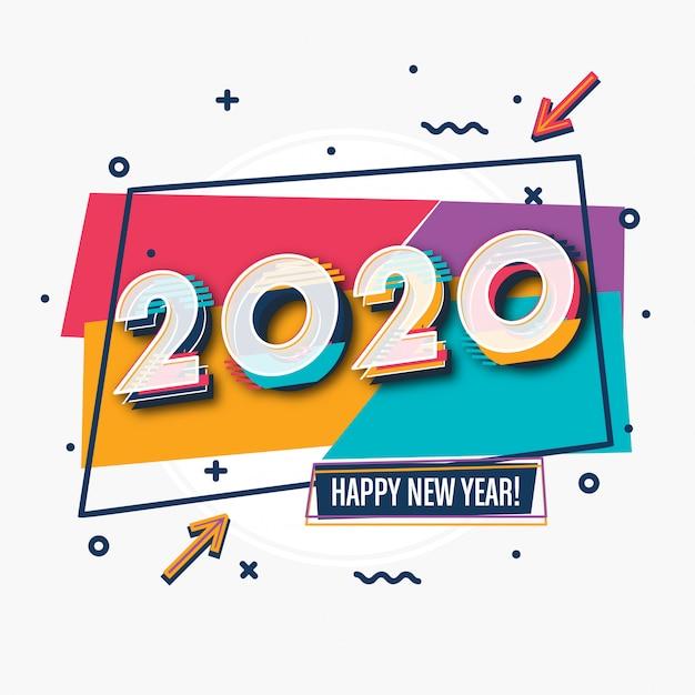 Grußkartendesign des neuen jahres 2020 Premium Vektoren