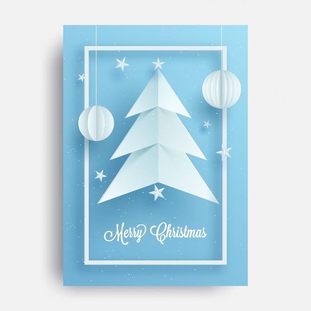 Grußkartendesign mit illustration von weihnachtsbaum und von chinesen Premium Vektoren