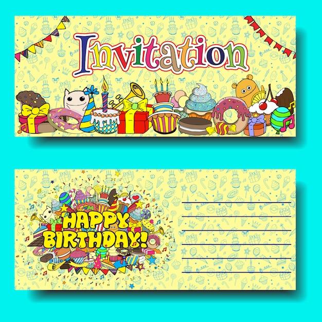 Grußkartengeburtstags-party einladung mit bonbons kritzelt hintergrund. Premium Vektoren
