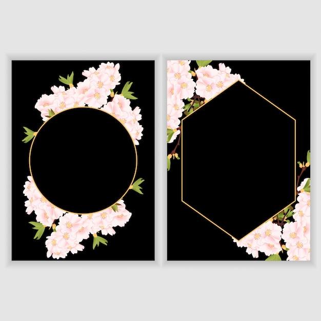 Grußkartenschablone mit kirschblüten-blumengrenze Premium Vektoren