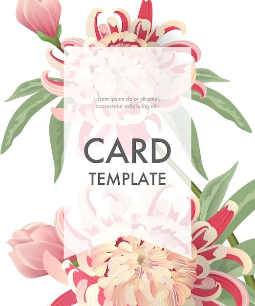 Grußkartenschablone mit rosa astern und transparentem rahmen auf weißem hintergrund. Kostenlosen Vektoren