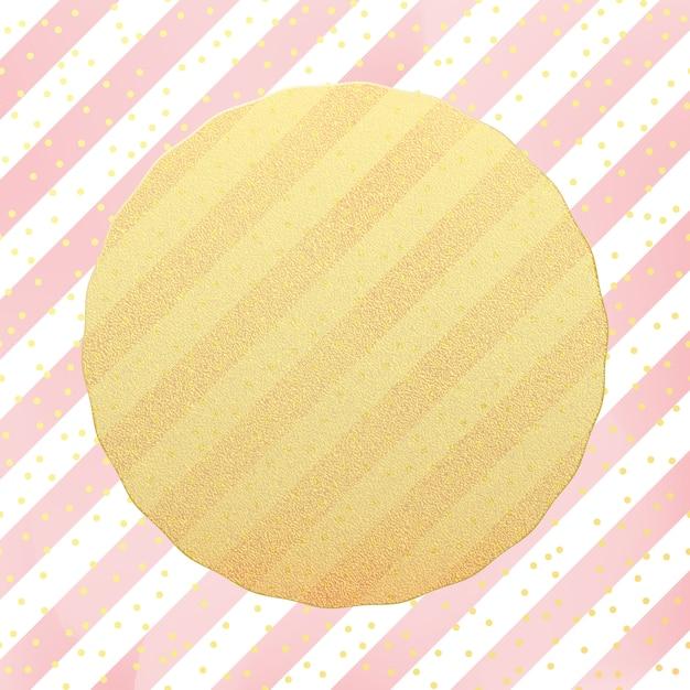 Grußkartenvorlage. gold glitterfolie punktiert konfetti auf gestreiftem weißem und rosa hintergrund. Premium Vektoren
