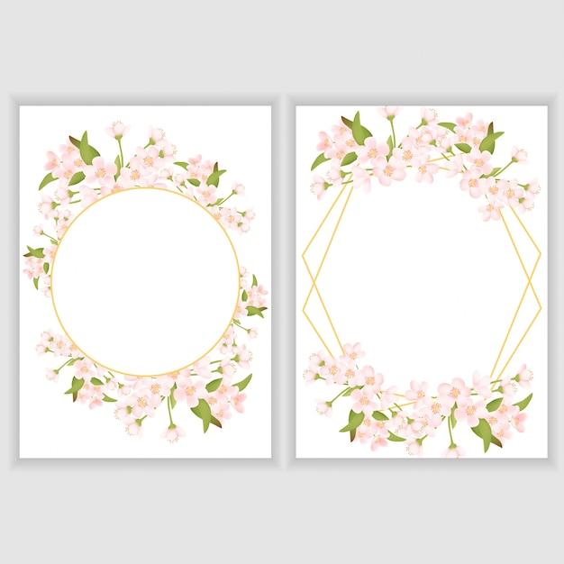 Grußkartenvorlage mit kirschblüte blumenrahmen Premium Vektoren