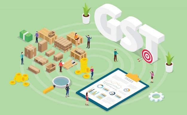 Gst-waren-service-steuerkonzept mit teamleuten und finanzdiagrammdiagramm mit moderner isometrischer art Premium Vektoren