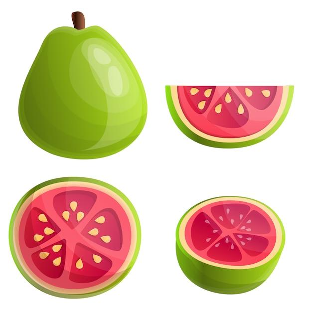 Guave gesetzt, cartoon-stil Premium Vektoren