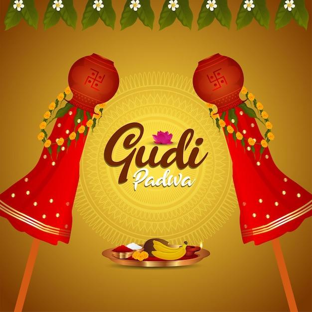 Gudi padwa feier grußkarte Premium Vektoren