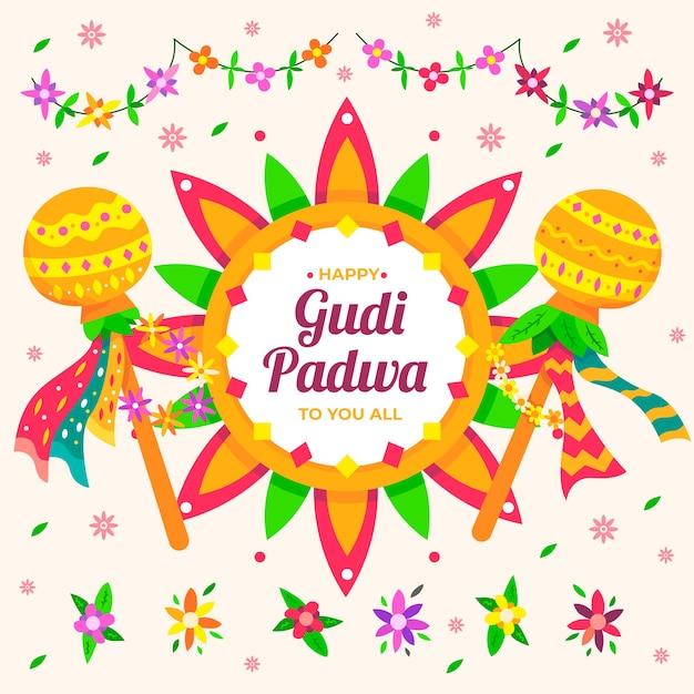 Gudi padwa hintergrundkonzept Kostenlosen Vektoren