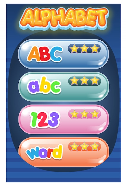Gui-menü-spiel-alphabet, das texteffekt verfolgt. Premium Vektoren