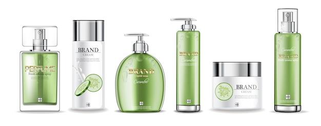 Gurkencremes und parfümsammlung Premium Vektoren
