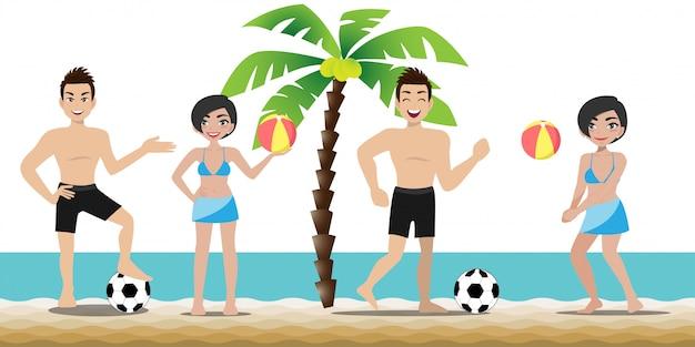 Gut aussehender mann und hübsche dame haben aktivitäten am strand Premium Vektoren
