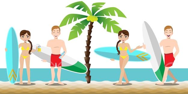 Gut aussehender mann und hübsche dame haben sportliche aktivitäten am strand Premium Vektoren
