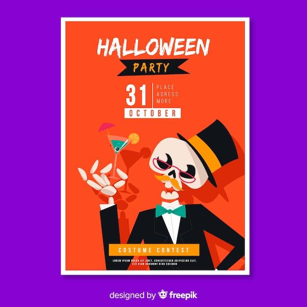 Gut gekleidete skelett halloween plakat vorlage Kostenlosen Vektoren
