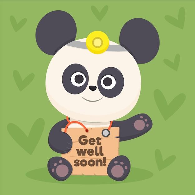 Gute besserung zitat und pandabär | Kostenlose Vektor