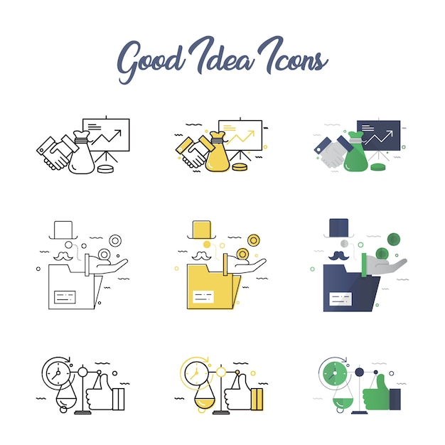 Gute idee icon set Premium Vektoren