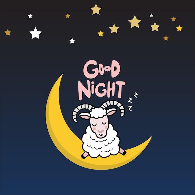 Gute Nacht Mit Niedlichen Schafen Download Der Premium Vektor
