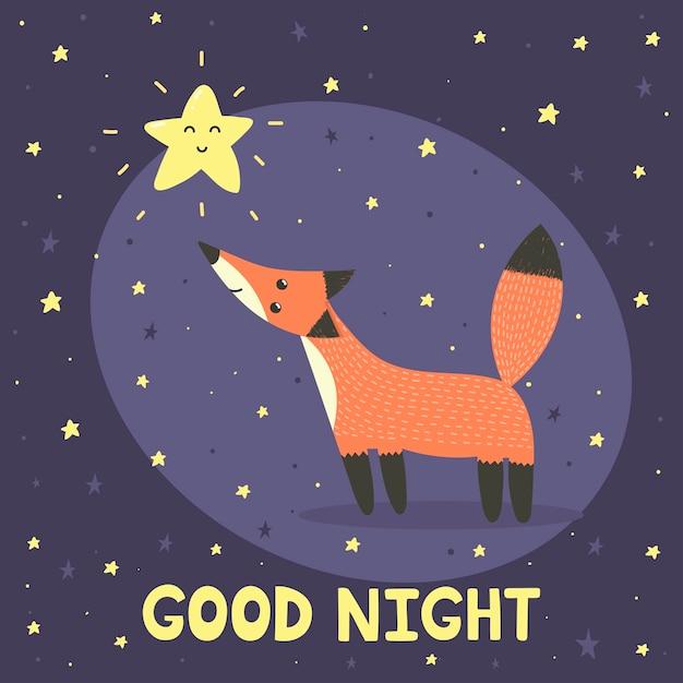 Gute nacht mit süßem fuchs und stern. vektor-illustration Premium Vektoren