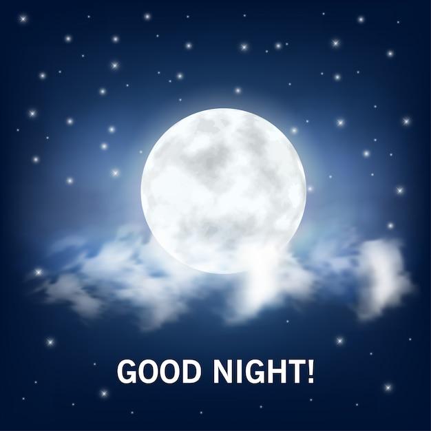 Gute nacht. realistischer mond und wolken Premium Vektoren