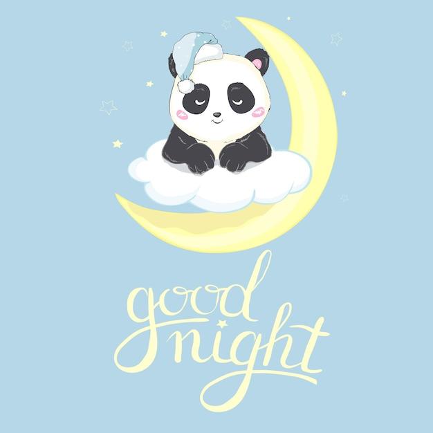 Gute nachtkarte des niedlichen pandas Premium Vektoren