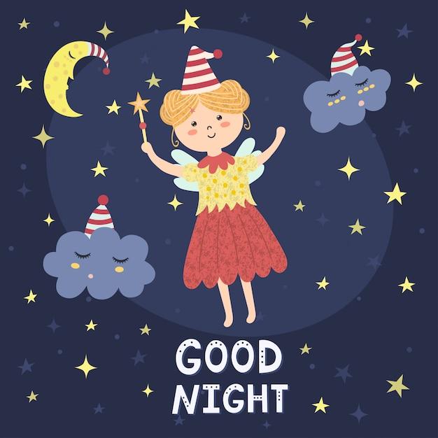 Gute nachtkarte mit einer niedlichen fee und schläfrigen wolken. Premium Vektoren