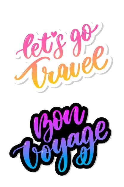 Gute reise los geht's reiseset handschriftliche schriftillustration Premium Vektoren